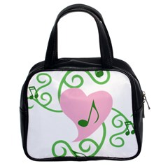 Sweetie Belle s Love Heart Music Note Leaf Green Pink Classic Handbags (2 Sides) by Alisyart