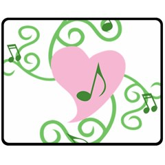 Sweetie Belle s Love Heart Music Note Leaf Green Pink Fleece Blanket (medium)  by Alisyart