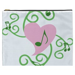 Sweetie Belle s Love Heart Music Note Leaf Green Pink Cosmetic Bag (xxxl)