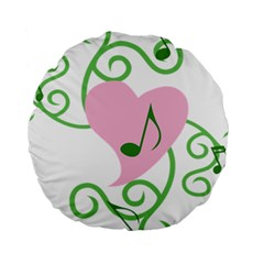 Sweetie Belle s Love Heart Music Note Leaf Green Pink Standard 15  Premium Round Cushions
