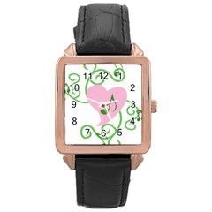 Sweetie Belle s Love Heart Music Note Leaf Green Pink Rose Gold Leather Watch  by Alisyart