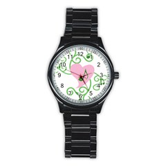 Sweetie Belle s Love Heart Music Note Leaf Green Pink Stainless Steel Round Watch by Alisyart