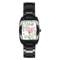 Sweetie Belle s Love Heart Music Note Leaf Green Pink Stainless Steel Barrel Watch by Alisyart