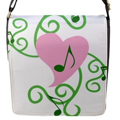 Sweetie Belle s Love Heart Music Note Leaf Green Pink Flap Messenger Bag (s) by Alisyart