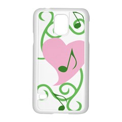 Sweetie Belle s Love Heart Music Note Leaf Green Pink Samsung Galaxy S5 Case (white)