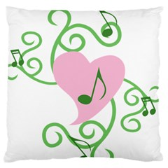 Sweetie Belle s Love Heart Music Note Leaf Green Pink Large Flano Cushion Case (one Side) by Alisyart