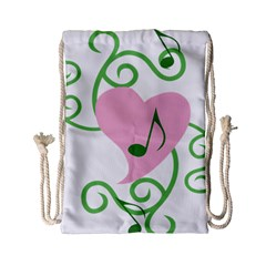 Sweetie Belle s Love Heart Music Note Leaf Green Pink Drawstring Bag (small) by Alisyart