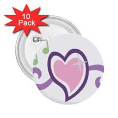 Sweetie Belle s Love Heart Star Music Note Green Pink Purple 2 25  Buttons (10 Pack)
