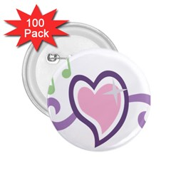 Sweetie Belle s Love Heart Star Music Note Green Pink Purple 2 25  Buttons (100 Pack)