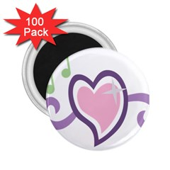 Sweetie Belle s Love Heart Star Music Note Green Pink Purple 2 25  Magnets (100 Pack)