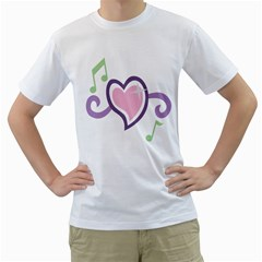 Sweetie Belle s Love Heart Star Music Note Green Pink Purple Men s T Shirt (white) (two Sided)