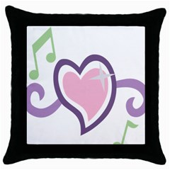 Sweetie Belle s Love Heart Star Music Note Green Pink Purple Throw Pillow Case (black) by Alisyart