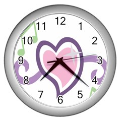 Sweetie Belle s Love Heart Star Music Note Green Pink Purple Wall Clocks (silver)