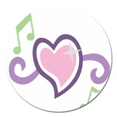 Sweetie Belle s Love Heart Star Music Note Green Pink Purple Magnet 5  (round) by Alisyart