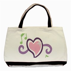 Sweetie Belle s Love Heart Star Music Note Green Pink Purple Basic Tote Bag (two Sides) by Alisyart