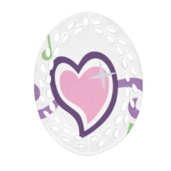 Sweetie Belle s Love Heart Star Music Note Green Pink Purple Oval Filigree Ornament (two Sides) by Alisyart
