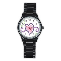Sweetie Belle s Love Heart Star Music Note Green Pink Purple Stainless Steel Round Watch