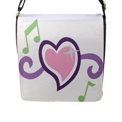 Sweetie Belle s Love Heart Star Music Note Green Pink Purple Flap Messenger Bag (l)