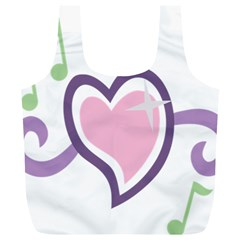 Sweetie Belle s Love Heart Star Music Note Green Pink Purple Full Print Recycle Bags (l)
