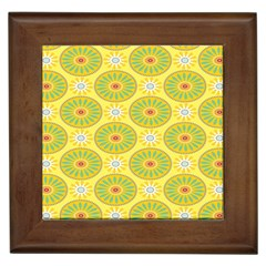 Sunflower Floral Yellow Blue Circle Framed Tiles by Alisyart