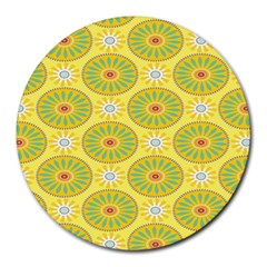 Sunflower Floral Yellow Blue Circle Round Mousepads by Alisyart