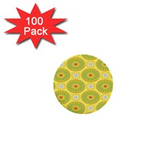 Sunflower Floral Yellow Blue Circle 1  Mini Buttons (100 Pack)  by Alisyart