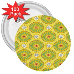 Sunflower Floral Yellow Blue Circle 3  Buttons (100 Pack)