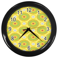 Sunflower Floral Yellow Blue Circle Wall Clocks (black) by Alisyart