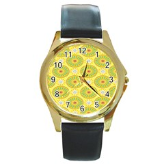 Sunflower Floral Yellow Blue Circle Round Gold Metal Watch by Alisyart
