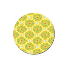 Sunflower Floral Yellow Blue Circle Magnet 3  (round) by Alisyart