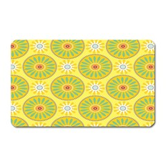 Sunflower Floral Yellow Blue Circle Magnet (rectangular)