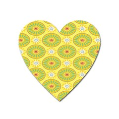 Sunflower Floral Yellow Blue Circle Heart Magnet by Alisyart