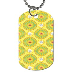 Sunflower Floral Yellow Blue Circle Dog Tag (one Side)