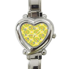 Sunflower Floral Yellow Blue Circle Heart Italian Charm Watch by Alisyart