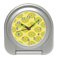 Sunflower Floral Yellow Blue Circle Travel Alarm Clocks by Alisyart