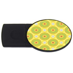 Sunflower Floral Yellow Blue Circle Usb Flash Drive Oval (4 Gb) by Alisyart