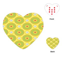 Sunflower Floral Yellow Blue Circle Playing Cards (heart)