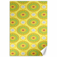 Sunflower Floral Yellow Blue Circle Canvas 12  X 18