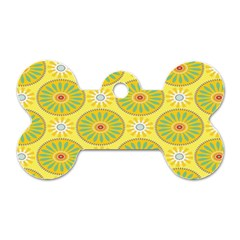Sunflower Floral Yellow Blue Circle Dog Tag Bone (one Side)