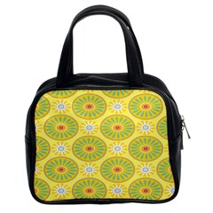 Sunflower Floral Yellow Blue Circle Classic Handbags (2 Sides) by Alisyart