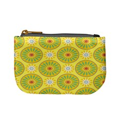 Sunflower Floral Yellow Blue Circle Mini Coin Purses