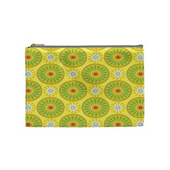 Sunflower Floral Yellow Blue Circle Cosmetic Bag (medium)