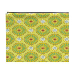 Sunflower Floral Yellow Blue Circle Cosmetic Bag (xl)