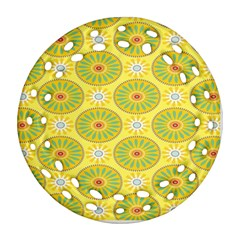 Sunflower Floral Yellow Blue Circle Ornament (round Filigree) by Alisyart