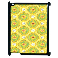 Sunflower Floral Yellow Blue Circle Apple Ipad 2 Case (black)