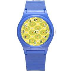 Sunflower Floral Yellow Blue Circle Round Plastic Sport Watch (s) by Alisyart