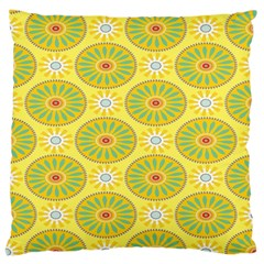 Sunflower Floral Yellow Blue Circle Large Cushion Case (two Sides) by Alisyart