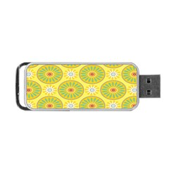 Sunflower Floral Yellow Blue Circle Portable Usb Flash (two Sides)