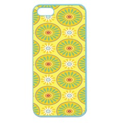 Sunflower Floral Yellow Blue Circle Apple Seamless Iphone 5 Case (color)