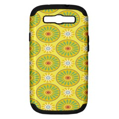 Sunflower Floral Yellow Blue Circle Samsung Galaxy S Iii Hardshell Case (pc+silicone) by Alisyart
